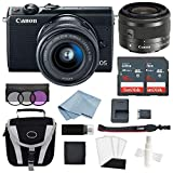 Canon EOS M100 Mirrorless Digital Camera (Black) with 15–45mm f/3.5–6.3 is STM Lens + Advanced Accessory Bundle – Includes to Get Started