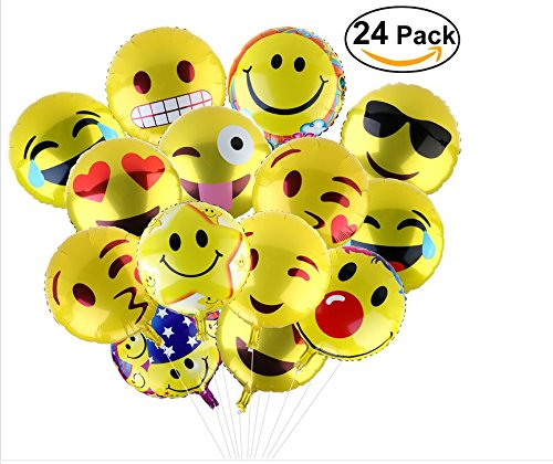 """BESTOMZ Party Balloons ,18"""" Reusable 11 Facial Expression Balloons for Party, Birthday or Holiday Decoration (24pcs)"""