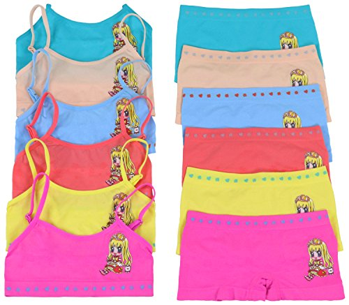 ToBeInStyle Girls' Pack of 6 Set of Matching Bras & Boyshorts (Large (Ages 12-14), Precious Teatime)