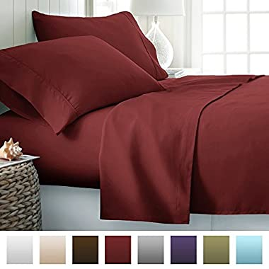ienjoy Home Hotel Collection Luxury Soft Brushed Bed Sheet Set, Hypoallergenic, Deep Pocket, Queen, Burgundy