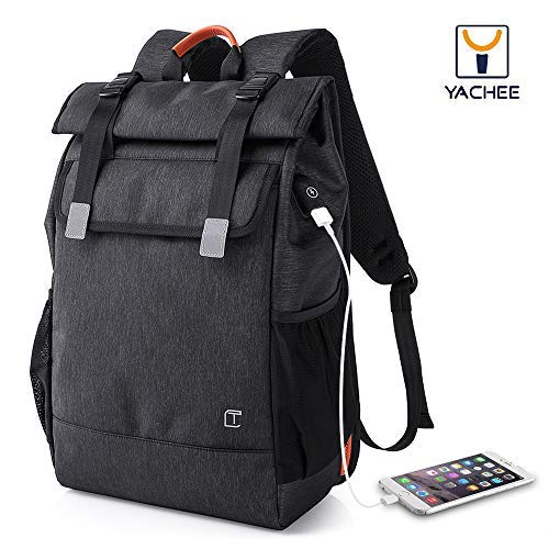 - Yachee Anti-theft Laptop Backpack, Outdoor 35L Lightweight RollTop Design Waterproof Multipurpose Large Rucksack with USB Charging Port Fits up to 17 inch Computer for Weekender Travel Business