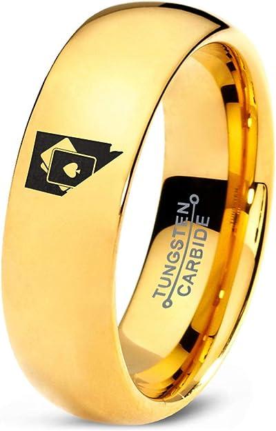 Zealot Jewelry Nevada The Silver State - Anillo de tungsteno con Borde Biselado de Oro Rosa de