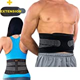 BodyMoves Back Brace Lumbar Support for Men and Women with Dual Adjustable Straps and Extension Belt - Helps Relieve Lower Back Pain,Spasm,Strain,Herniated Disc,Sciatica,Scoliosis,Lifting(Regular)