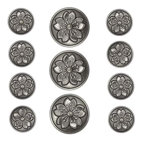 - Bezelry Sakura Blazer Button Set Gray Silver Color Metal Shank Buttons. 3 pcs of 25mm, 8 pcs of 18mm
