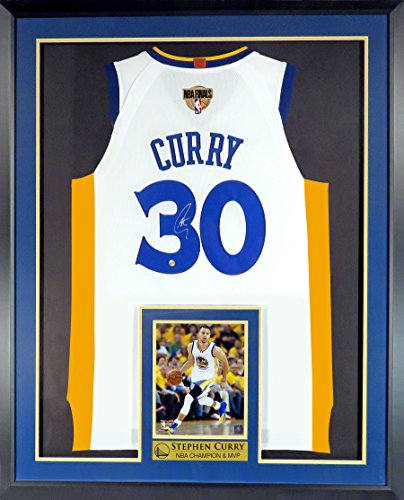 Golden State Warriors Stephen Curry Autographed Home White Jersey w/Finals Patch (Deluxe Patch) Framed