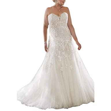 Chady Strapless Lace Mermaid Wedding Dresses With Removable