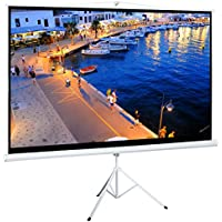 Cloud Mountain 100 Inch 16:9 Projector Screen with Stand Portable Indoor Outdoor Pull Up Tripod Stand Projection Screen for Home Theater Office (Adjustable Aspect Ratio, 1.1 Gain, Matte White)