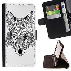 King Art - Premium-PU-Leder-Prima caja de la PU billetera de cuero con ranuras para tarjetas, efectivo Compartimiento desmontable y correa para la mu?eca FOR Apple Iphone 5C- Wolf Heart Face Funny