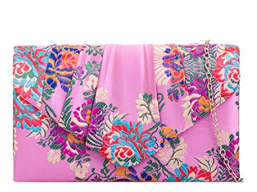 Ethnic Handbag Satin KH2094 Bag Bag Evening Purse Ladies Women's Floral Flower Pink Clutch dqwdvg
