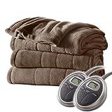 Sunbeam Channeled Velvet Plush Electric Heated Blanket King Cocoa