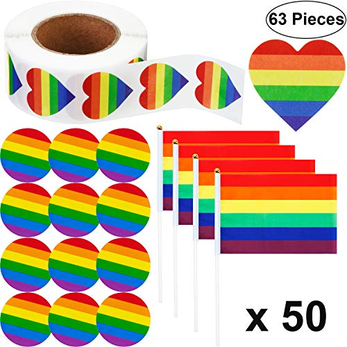50 Pack Rainbow Gay Pride Flag Small LGBT Stick Flags and 500 Counts Love Rainbow Stickers Roll in Heart-Shaped, 12 Pieces LGBT Pride Rainbow Pinback Buttons, Decorations for Rainbow Pride Party