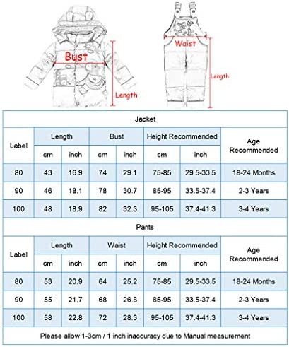 2 Piece Baby Ski Suit Hooded Down Jacket with Snow Ski Bib Pants Winter Snowsuit Unisex Outfit Set