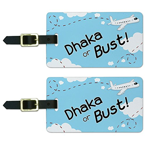 Graphics and More Dhaka or Bust Flying Airplane Luggage Suitcase Carry-On ID Tags Set of 2