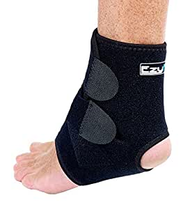 EzyFit Ankle Support Brace, Fully Adjustable Open Heel, Wrap Around Stabilizer Straps For Maximum Support - Strong Flexible Neoprene for Greatest Comfort - 3 Sizes