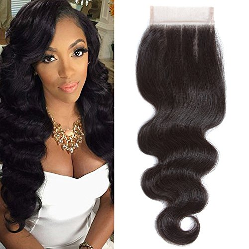 100% Unprocessed Human Hair Brazilian Virgin Hair Body Wave Closure 130% Density Natural Color 4x4 Lace Clsoure Body Wave Three Part 14 Inch Silk and Soft Closure