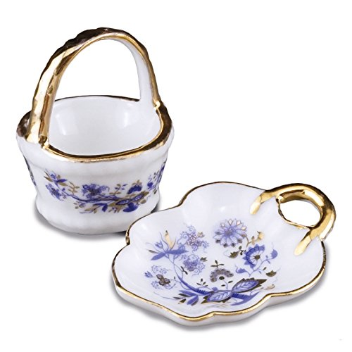 - Miniature 1:12 Scale Blue Onion Basket and Tray Set by Reutter Porcelain New for 2018