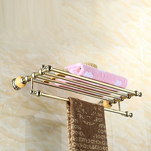 LJ&L European retro style copper alloy towel rack, drilling installation, anti-corrosion, home and hotel bathroom upscale luxury decoration hardware accessories,A,Length 60cm by LIUJIANGLONG (Image #2)
