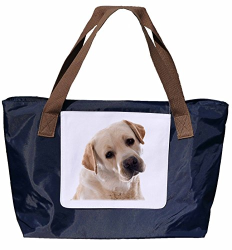 Shopper / Tracolla / Shopping Bag / Tote Bag / Borsa A Tracolla In Nylon Blu Navy - Dimensioni 43x33cm - Motivo: Ritratto Labrador - 01