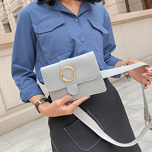 Chest Hasp Shoulder Fanny PU Simple Women Domybest Handbags Waist Pure Pack Grey Leather vn41qxAR