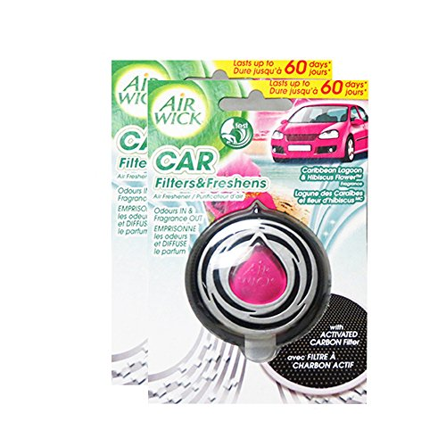 Air Wick Car Air Freshener Caribbean Lagoon And Hibiscus Flower Scent (3ml) 8886039 (Pack of 2)