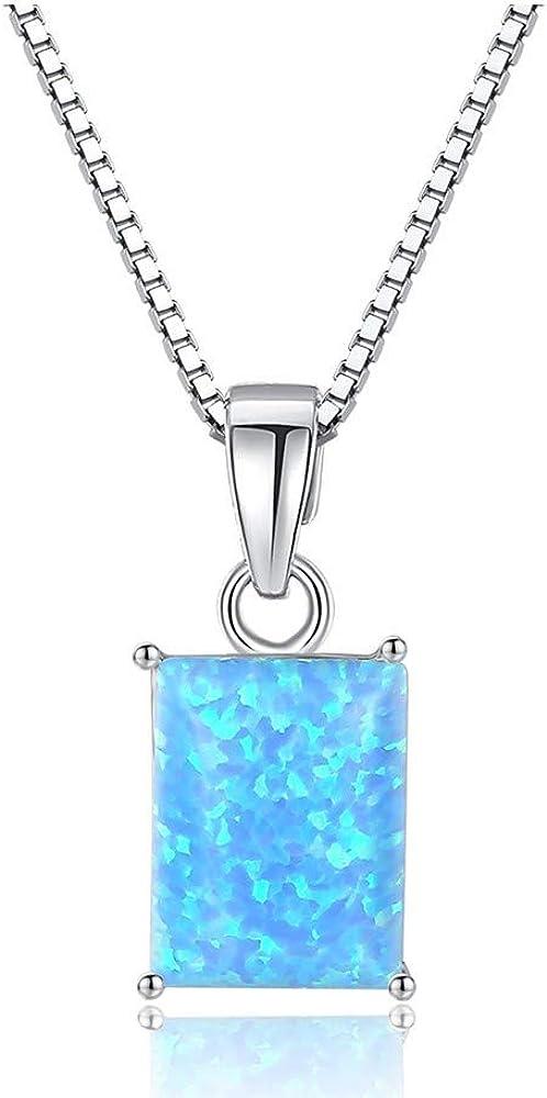 MXWY Collar S925 Plata Esterlina Piedra Preciosa Australiana Clavícula Cadena Cuadrado Joyería Femenina