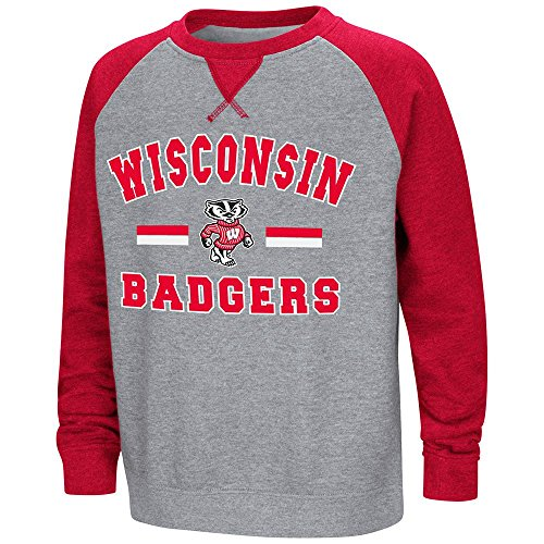 Badger Crewneck Fleece Sweatshirts - Colosseum Youth Wisconsin Badgers Fleece Crewneck Sweatshirt - S