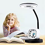 Children Learn Desk Lamp Touch Cartoon Cute Eye Lamp LED Student Desk Reading Study Bedside Small Alarm Clock Table Lamp For Boys And Girls ( Color : Black )