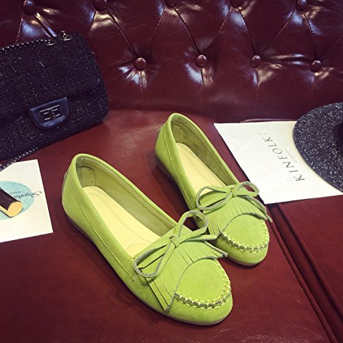 Flat shoes Breathable Green thin shoes Women's Frosted Bow tie tassel FdfqAgc