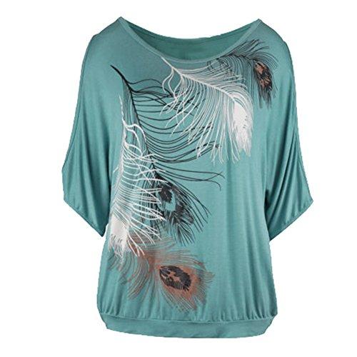 Stampa Casual Magliette Lavoro Plus Top Maglietta Camicie Size Juleya Camicette Casual Donne Donna a Manica Tshirt Floreale Corta Verde Sling Allentata 67z4wq