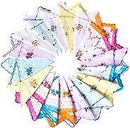 ALLURE 36 Pcs Women Soft Cotton Pocket Handkerchiefs Ladies Hankies Vintage Floral Print Handkerchiefs