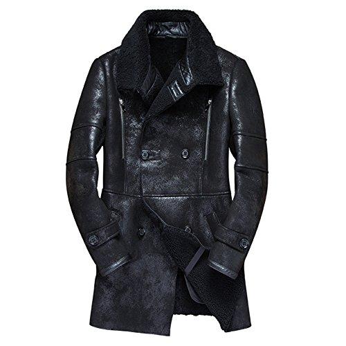 Denny&Dora Mens Shearling Coat Mens Fur Coat Long Military Style Sheepskin Leather Jacket Motorcycle Jacket (Black, (Black Leather Shearling Coat)