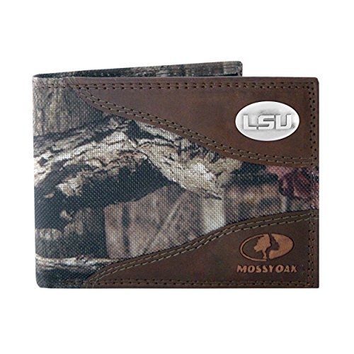 NCAA LSU Tigers Zep-Pro Mossy Oak Nylon and Leather Passcase Concho Wallet, Camouflage, One Size