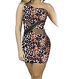 YeeATZ Sexy One Shoulder Leopard Nightclub Mini Dress(Size,S)