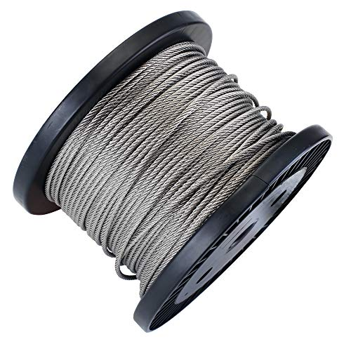 Zoostliss 200Ft Stainless Steel Aircraft Wire Rope 1/8'' for Deck Cable Railing Kit, 7x7 T316 Marin Grade by Zoostliss (Image #2)