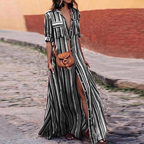 AMOFINY New Women Boho Striped Multicolor Loose Button Beach Party Long Dresses by AMOFINY-Dress (Image #1)