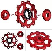 Yiying Aluminum Sealed Bearing Jockey Wheel Rear Derailleur Pulley, Pulley Wheel Assembly Kit 2pcs (Black)