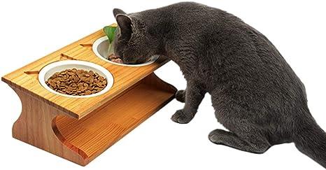POPETPOP Mesa de Comedor Doble para Mascotas con Soporte de Madera ...