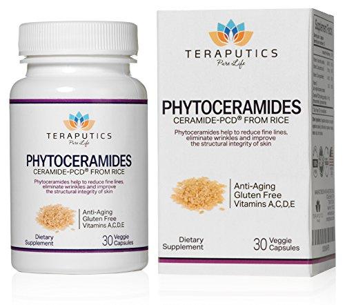Teraputics Phytoceramides Ceramide-PCD ®, сделанный из риса - 100% клейковины All Natural растительного происхождения витамин, экстракт кожи Восстановление Skincare устного дополнения, устраняет морщины, уменьшает тонких линий, укрепляет кожу волос ногтей