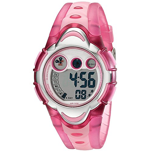 AZLAND Waterproof Time Teacher Kids Children Girls Sports Digital Watches,Alarm,Chime,Stopwatch,Date/week/month,Silicon Strap, (Girl Chime)