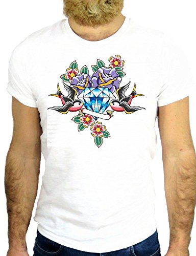 T SHIRT Z0679 TATTO NICE BIRD DOVE DIAMANT ARE GIRLS BEST FRIEND ROCK VINTAGE GGG24 BIANCA - WHITE L
