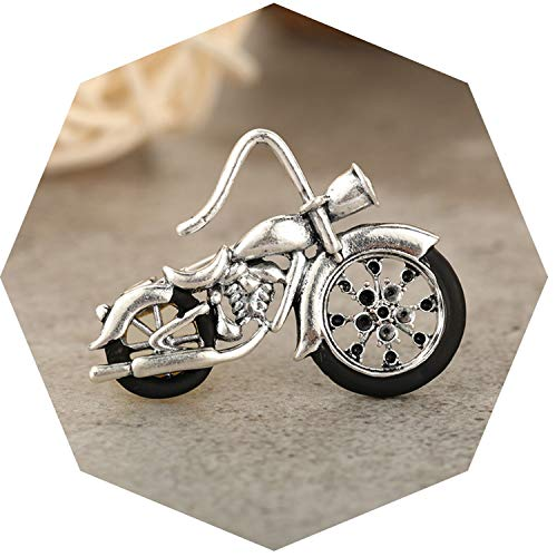 Vintage Motorcycle Model Brooches Corsage for Women Men Gold Color Kids Gift Retro Car Brooch Badge Hijab Pins Jewelry,Sliver Color from AMBER DAVIDSON
