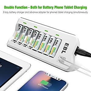 EBL 808U AA AAA Battery Charger with 8 Pack AA 2800mAh Rechargeable Batteries