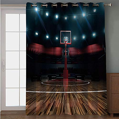 iPrint Blackout Patio Door Curtain,Teen Room Decor,Professional Basketball Arena Stadium Before Game Championship Sports Image,Multicolor,for Sliding & Patio Doors, 102