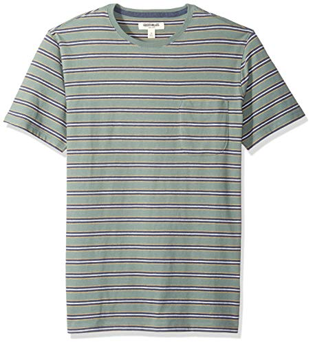 - Goodthreads Men's Short-Sleeve Sueded Jersey Crewneck Pocket T-Shirt, Green Retro Stripe, Large