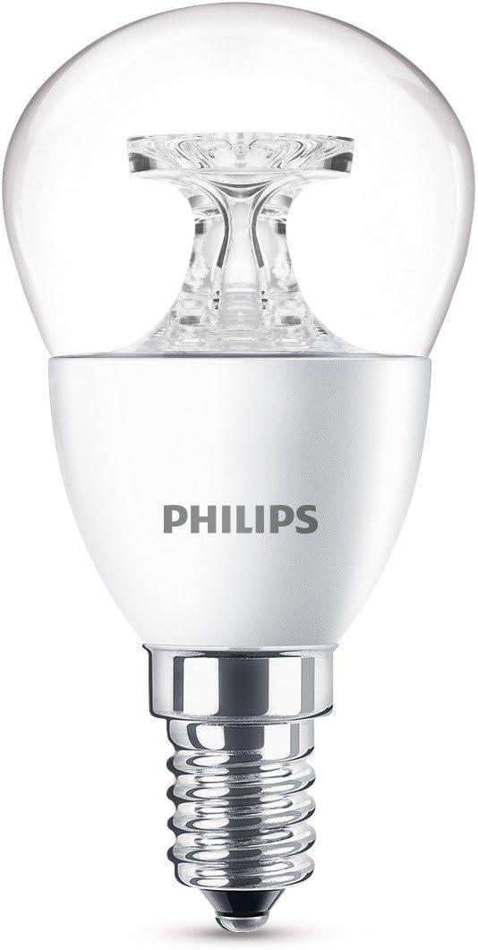 Philips Lighting Bombilla gota Vela LED de luz cálida, 4 W/25W, casquillo E14, Blanco, 1 unidad