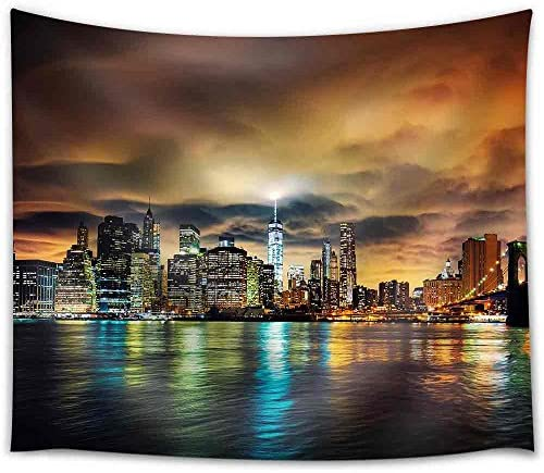 wall26 – View of Manhattan at Sunset, New York City. – Fabric Wall Tapestry Home Decor – 68×80 inches