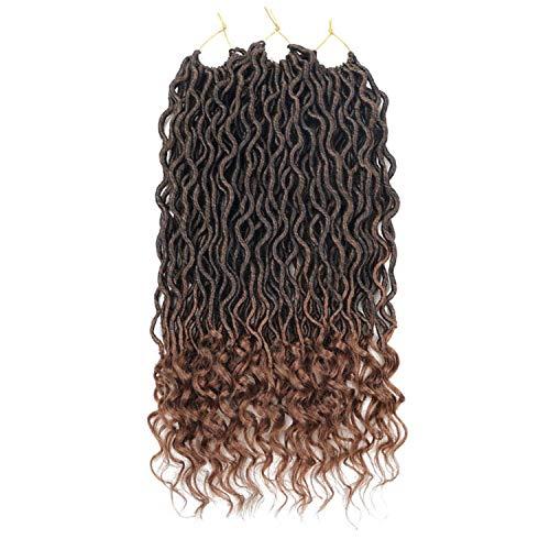 Crochet Goddess Locs Hair Extensions Faux Locs Curly Crochet Braids Ombre Kanekalon Braiding Hair Bohemian locks Romantico,T1B/30,18inches,China,6 packs -