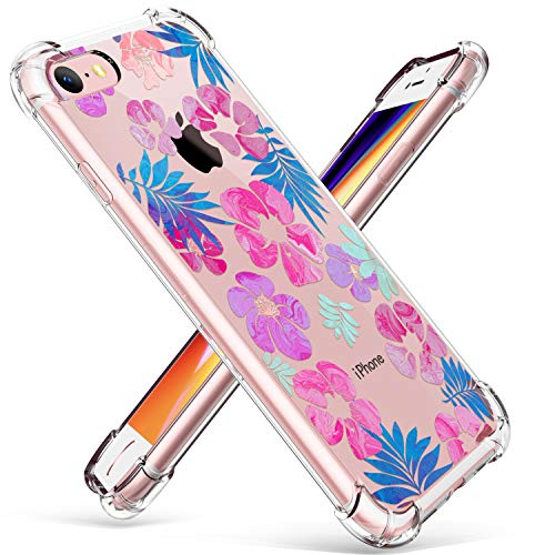 GVIEWIN Clear Flower Designed for iPhone 8 Case/iPhone 7 Case, Soft TPU Silicone Ultra-Thin Slim Fit Transparent Flowers Flexible Cover Perfect Grip for iPhone 7, iPhone 8 (Fancy ()