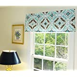 Aqua White and Brown Window Treatment Curtain Valance with Ruffled Top