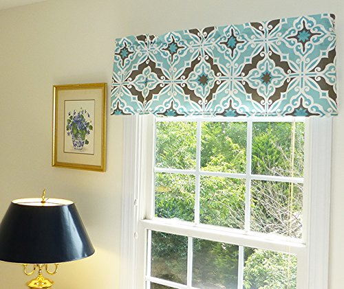 Aqua White and Brown Window Treatment Curtain Valance with Ruffled Top (Brown Aqua And Curtains Window)